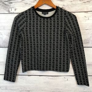 Topshop Tops - Top Shop Black & White Long Sleeve Crop Top Small